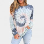 2020 Autumn T Shirt Tie Dye Long Sleeve Tops Women Casual  O-neck Loose Tops Tee Shirts Harajuku Multicolor Spring Autumn Tops