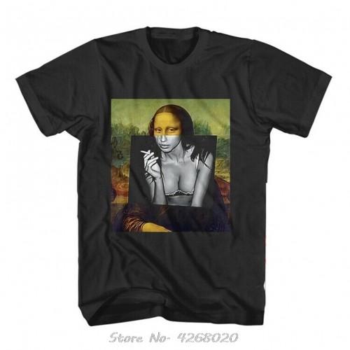 Banksy Renaissance Mona Lisa Street Artist T-shirt Men Cotton Short Sleeve TShirt Funny Tee Shirt Harajuku