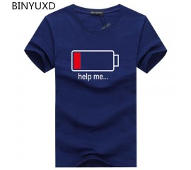 Batteries fashion personality shirt men's T-shirt funny design cotton summer short-sleeve brand clothing hot sale mens tops tees