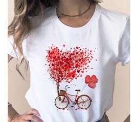 Bicycle Vogue T Shirt Women Summer Casual Tshirts Tees Harajuku Korean Style Graphic Tops 2020 Kawaii Female T-shirt,Drop Ship