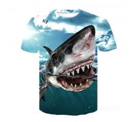 Brand new 3D horror image monster T-shirt short sleeve shark beak T-shirt male female T-shirt male  female high-quality boy Blue