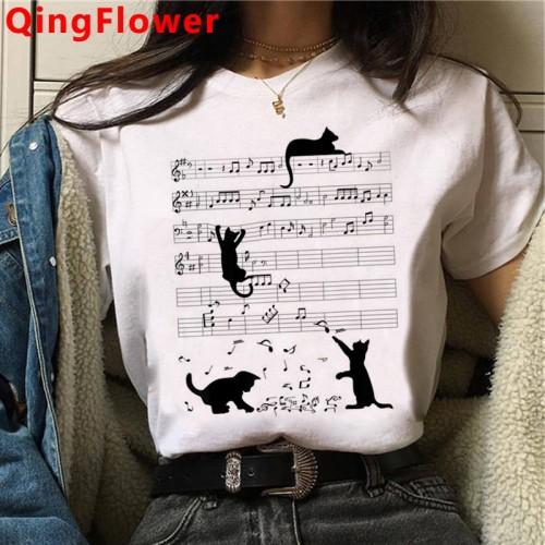 Cat Harajuku Funny Cartoon T Shirt Women Cute Anime Ullzang T-shirt Grunge Kawaii 90s Fashion Tshirt Korean Style Top Tee Female