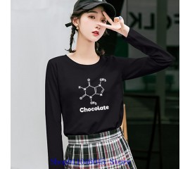 Funny Chocolate Molecule Chemistry Design Women's Long Sleeve T-Shirt Novelty Science Experiments T Shirt Laboratory Biology Tee