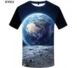 KYKU Brand Earth T shirt Men Space Tshirt Moon 3d T-shirt Hip Hop Tee Cool Mens Clothing 2018 New Summer Casual Short Sleeve 4xl