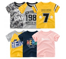 Letters Print T Shirt Boys Girls Summer Kid Clothes Unisex Figure T-shirts for Boy Cotton Top Tee Children's Clothing Dropship