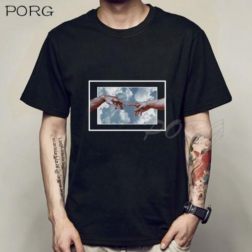 Michelangelo Hands T Shirt Ulzzang Vintage Men Aesthetic Tshirt Funny T-shirt Aesthetic Camisetas Grunge Unisex Harajuku Tees