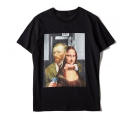 New Novelty Punk Men Gunner Mona Lisa T Shirts T-Shirt Hip Hop Skateboard Street Cotton T-Shirts Tee Top Funny
