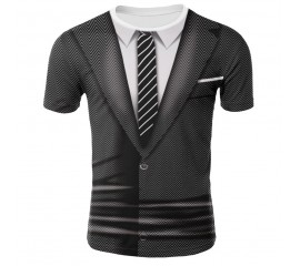 Summer 2020 new suit fake two-piece T-shirt men's summer 3D printing casual 3D T-shirt tops T-shirt