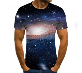 Summer 3D Printing Men's T-Shirt Casual Short Sleeve O-Neck Men's T-Shirt Fashion Galaxy Star Print 3D T-Shirt Top