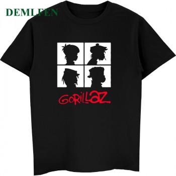 Summer Music Band Gorillaz T-shirt Cotton Tops Tees Men Short Sleeve Boy Casual Homme T Shirt Fashion Streetwear Hip Hop