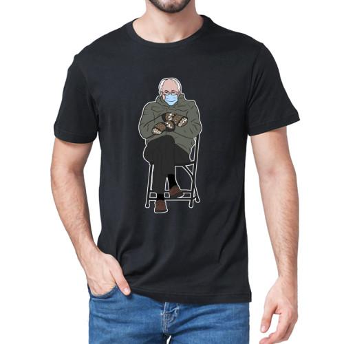 Unisex 100% Cotton  Bernie Sanders Inauguration Meme Funny Gift Summer Men's T Shirt Grumpy Sanders Mittens Women Soft Tee
