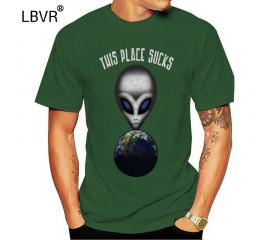 Velocitee Mens T-Shirt This Place Sucks Funny Alien Slogan Ufo Et A22330 Custom Print Tee Shirt